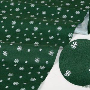 "Хлопок Dailylike ""Снежинки на зеленом"", ширина 110 см (Корея)"