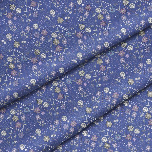 """Хлопок """"Цветы на синем фоне"""", ширина 160 см (Польша)"""