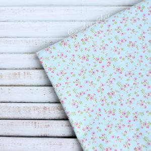 """Хлопок """"Мелкие цветы на голубом"""", ширина 110 см (Корея)"""