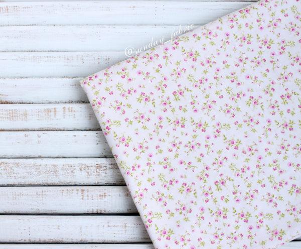 """Хлопок """"Мелкие цветы на розовом"""", ширина 110 см (Корея)"""