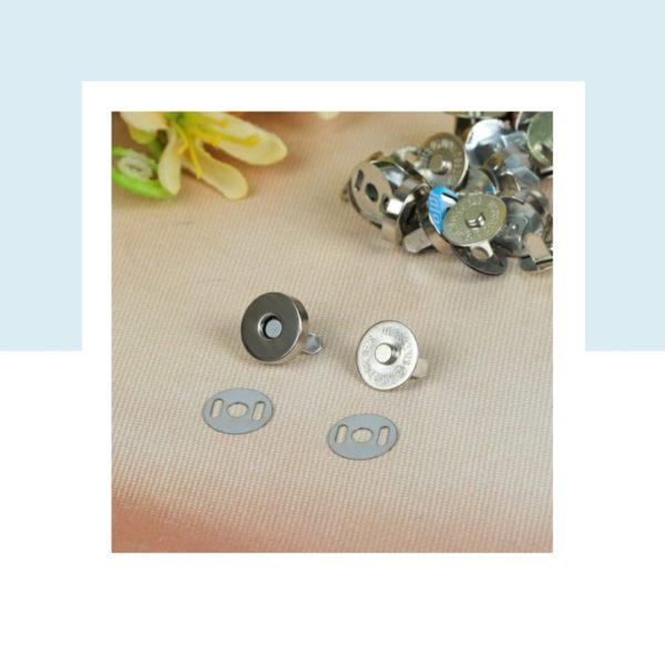 Кнопка магнитная, диаметр 14 мм, цвет: Серебро