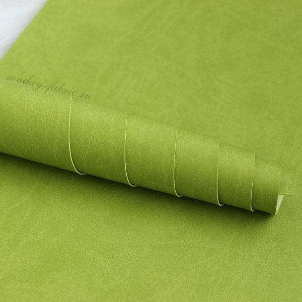 Переплетный кожзам, матовый, цвет: Зеленое яблоко (Италия)