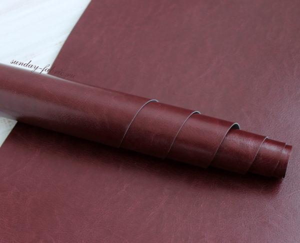 Переплетный кожзам, глянцевый, Бордовый (Италия)