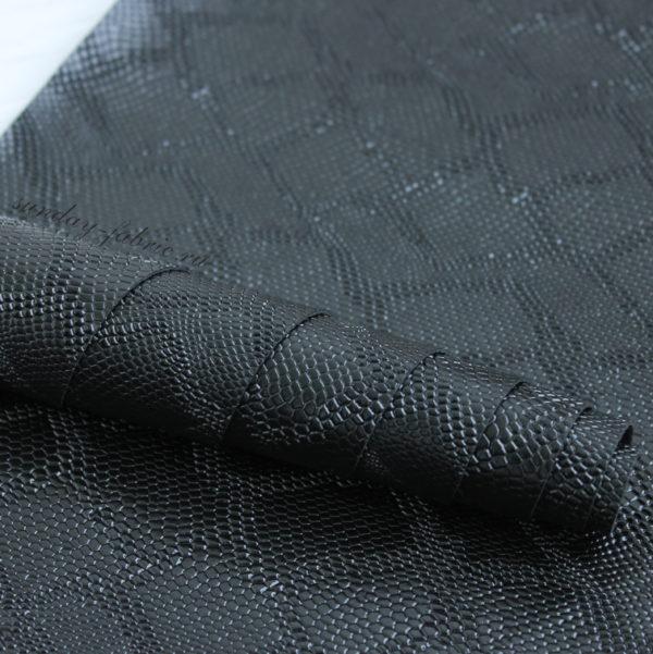 """Искусственная кожа """"Рептилия"""", цвет: Черный (Турция)"""