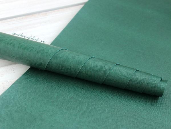Переплетный кожзам, глянцевый с тиснением под рептилию, Зеленый (Италия)