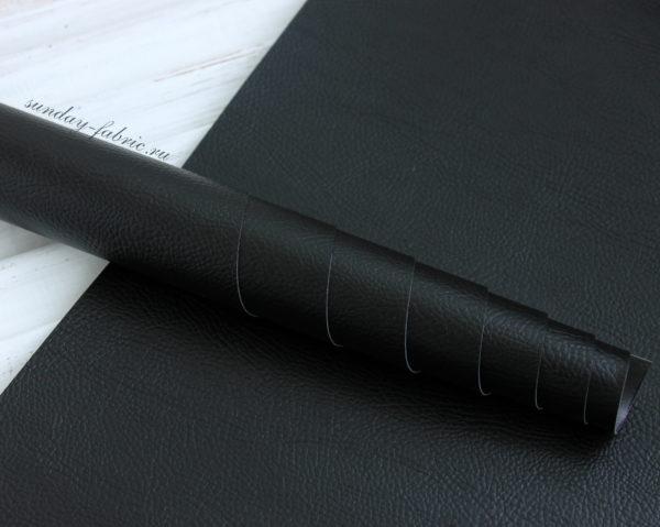 Переплетный кожзам, матовый с тиснением под кожу, цвет: Черный (Италия)