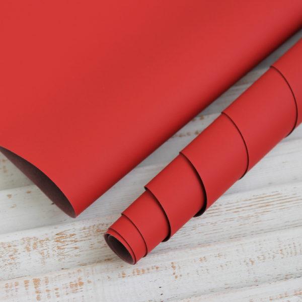 Переплетный кожзам, матовый, цвет: Рождественский красный (Китай)
