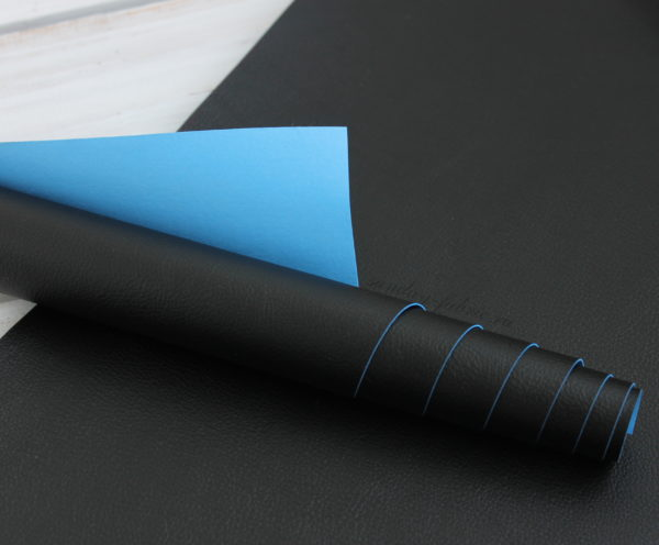Переплетный кожзам матовый, цвет: Черный/Голубой (Италия)
