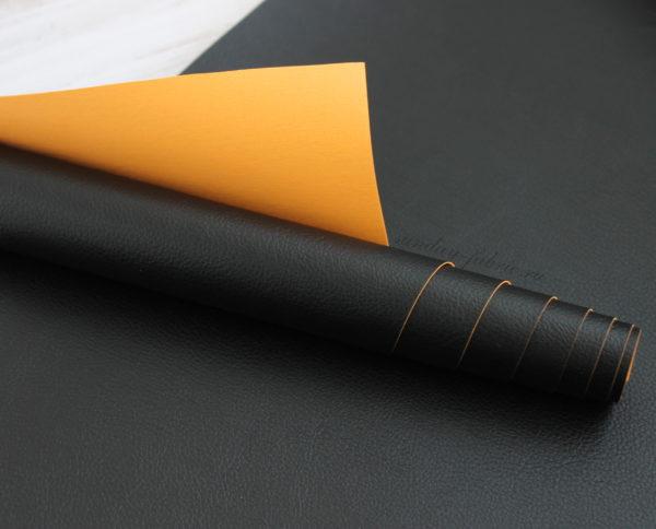 Переплетный кожзам матовый, цвет: Черный/Оранжевый (Италия)