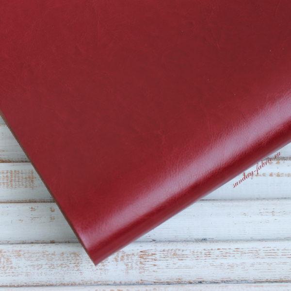 Переплетный кожзам, глянцевый, Темно-красный (Италия)