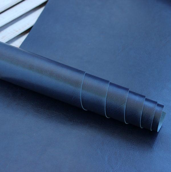 Переплетный кожзам, глянцевый, Темно-синий (Италия)