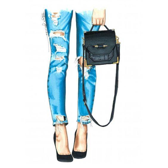 """Термотрансферная картинка """"Рваные джинсы и сумка"""""""