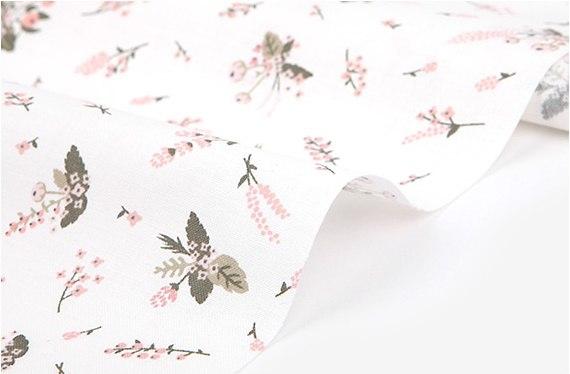 """Хлопок Dailylike """"Розовые цвет на белом"""", ширина 160 см (Корея)"""