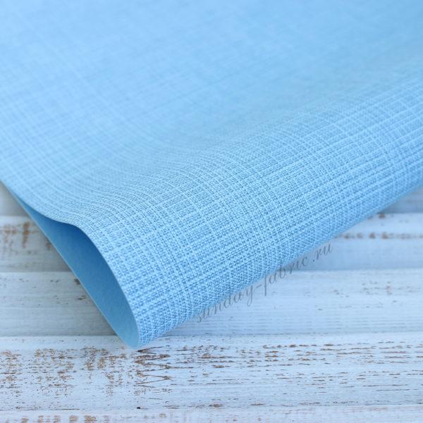 Переплетный кожзам, матовый с тиснением, цвет: Голубой (Италия)