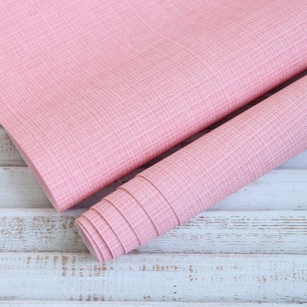 Переплетный кожзам, матовый с тиснением, цвет: Розовый (Италия)