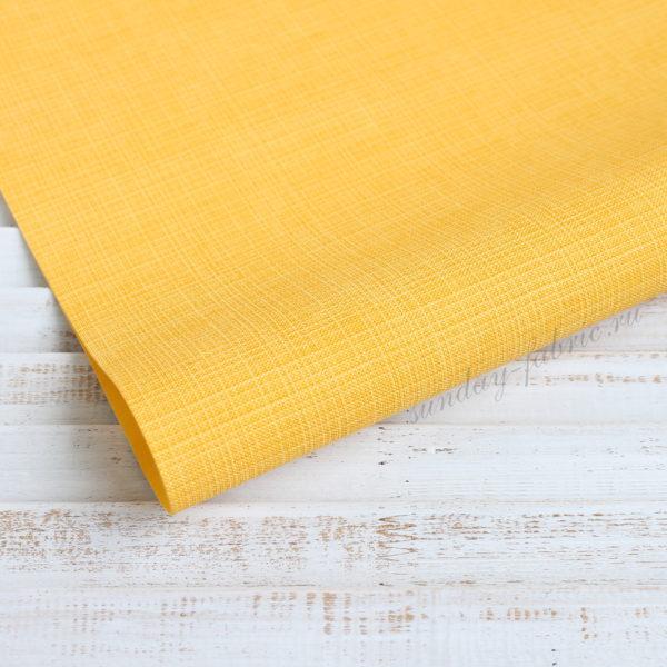 Переплетный кожзам, матовый с тиснением, цвет: Желтый (Италия)