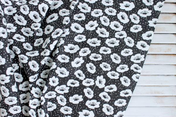 """Хлопок """"Анемоны на черном"""", ширина 160 см (Китай)"""