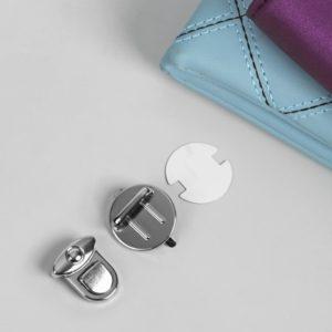 Застежка для хлястика круглая, d=3 см, Цвет: Серебро