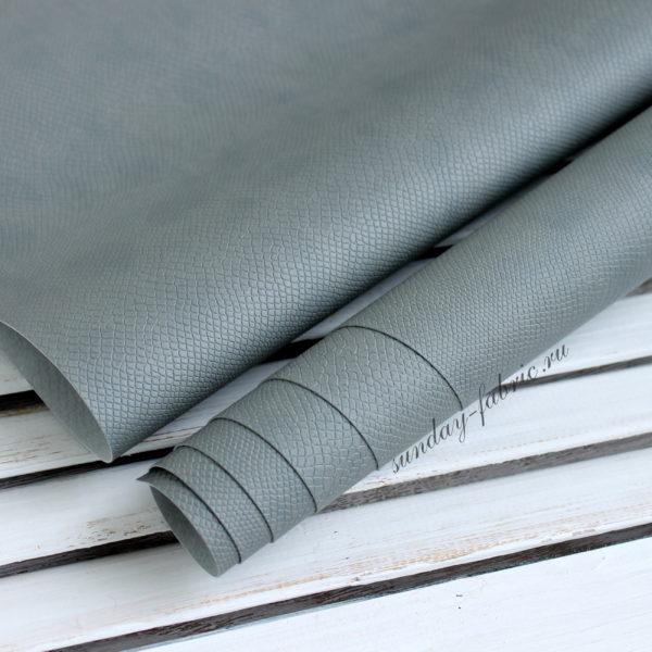 Переплетный кожзам, матовый с тиснением питон, цвет: Серый