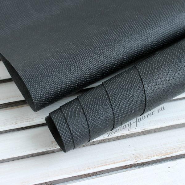 Переплетный кожзам, матовый с тиснением питон, цвет: Черный