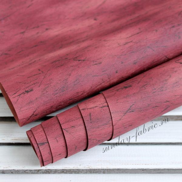 """Переплетный кожзам """"состаренное дерево"""", цвет: Бордовый"""