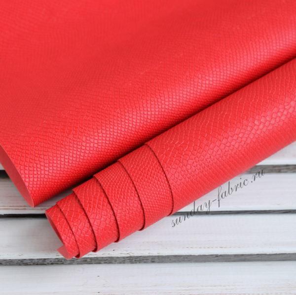 Переплетный кожзам, матовый с тиснением питон, цвет: Красный