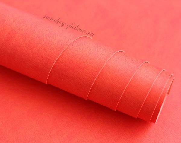 Переплетный кожзам, матовый, цвет: Ало-красный