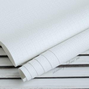 Переплетный кожзам, матовый с тиснением КРОКОДИЛ, цвет: Белый