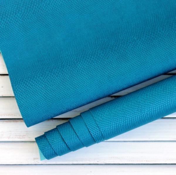 Переплетный кожзам, матовый с тиснением питон, цвет: Петролевый синий