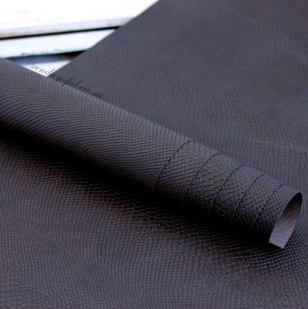 кожзам с тиснением питон темно-коричневый