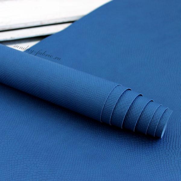 кожзам с тиснением питон синий