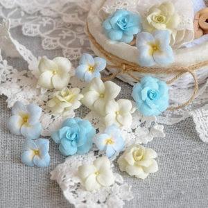 """Набор тканевых цветов """"Гортензии и розы"""", цвет Голубой, 15 шт. (Pastel Flowers)"""