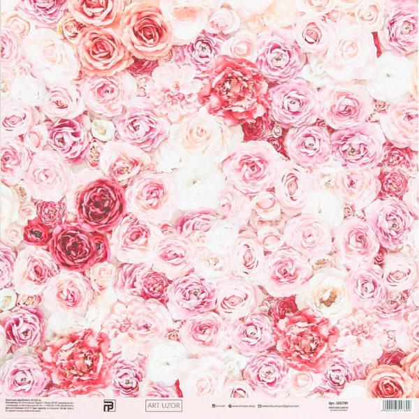 """Бумага для скрапбукинга """"Свадебные цветы"""", 30,5х30,5 см (АртУзор)"""