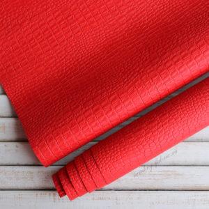 Переплетный кожзам, матовый с тиснением КРОКОДИЛ, цвет: Красный
