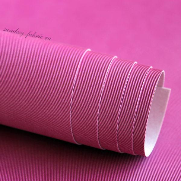 Переплетный кожзам, матовый с тиснением ДЖИНСА, цвет: Фуксия