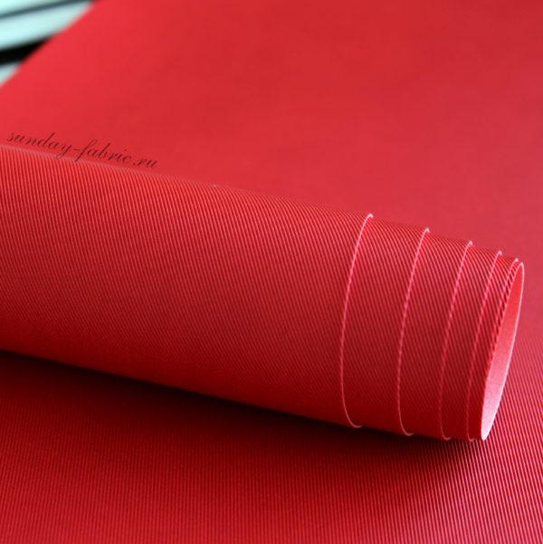 Переплетный кожзам, матовый с тиснением ДЖИНСА, цвет: Красный