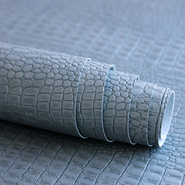 Переплетный кожзам, матовый с тиснением крокодил, цвет: Серый