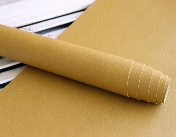"""Переплетный кожзам, матовый с тиснением """"мятая кожа"""", цвет: Горчично-желтый"""