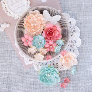 """Набор тканевых цветов """"Гортензии и розы"""", цвет Розовый, 15 шт. (Pastel Flowers)"""