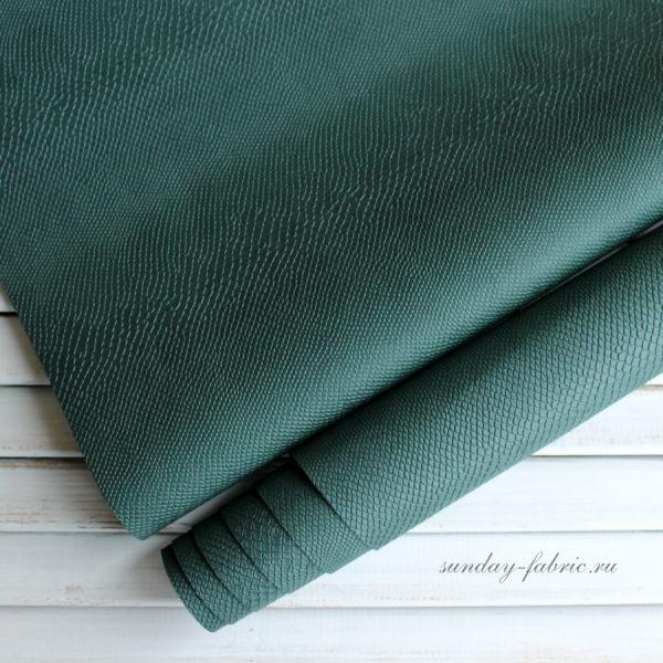Переплетный кожзам, матовый с тиснением питон, цвет: Темно-зеленый