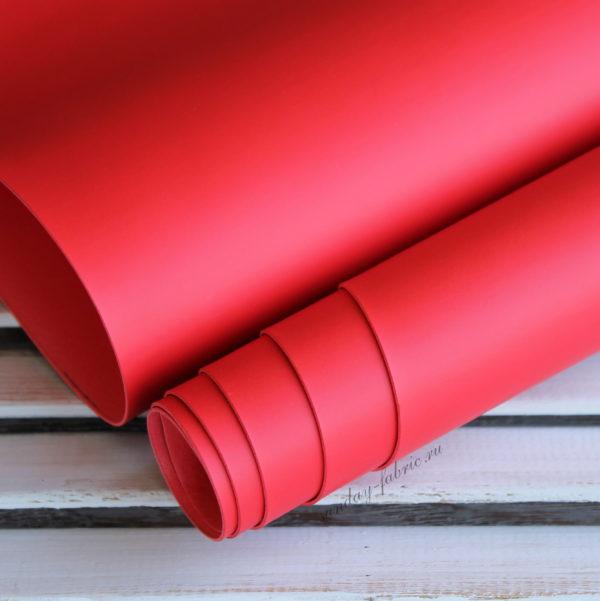 Переплетный кожзам, матовый без текстуры, цвет: Красный (Италия)