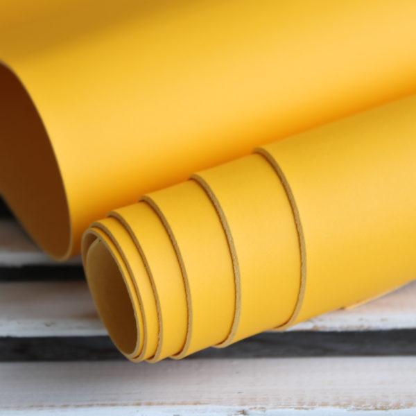 Переплетный кожзам, матовый без текстуры, цвет: Желтый (Италия)