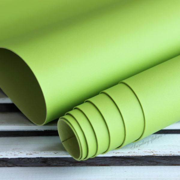 Переплетный кожзам, матовый без текстуры, цвет: Светло-зеленый (Италия)