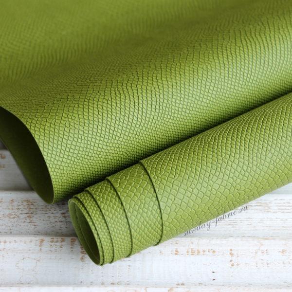 Переплетный кожзам, матовый с тиснением питон, цвет: Елово-зеленый