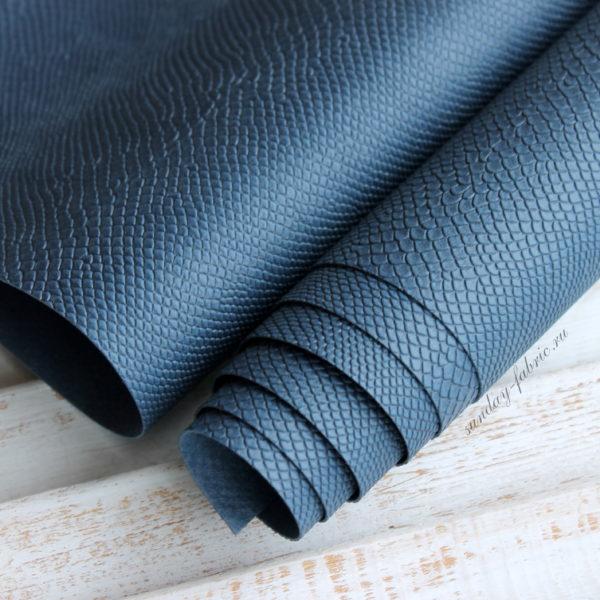 переплетный кожзам питон океанический синий