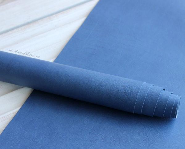 """Переплетный кожзам, матовый с тиснением """"мятая кожа"""", цвет: Синий"""