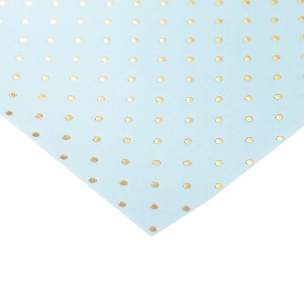 """Бумага для скрапбукинга с фольгированием """"Горошек голубая"""", 30,5х30,5 см (АртУзор)"""