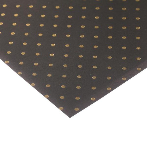 """Бумага для скрапбукинга с фольгированием """"Горошек черная"""", 30,5х30,5 см (АртУзор)"""