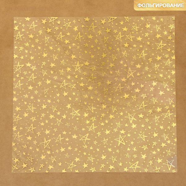 """Ацетатный лист с фольгированием """"Золотые звезды"""", 30,5х30,5 см (АртУзор)"""