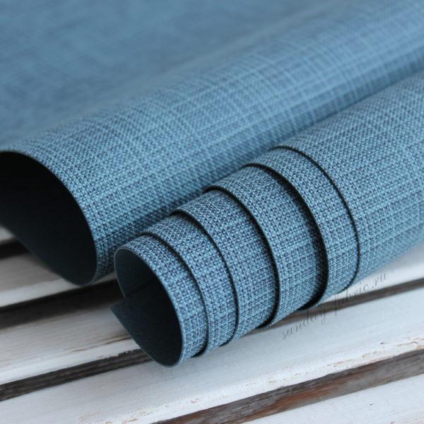 Переплетный кожзам, матовый с тиснением, цвет: Темно-синий (Италия)